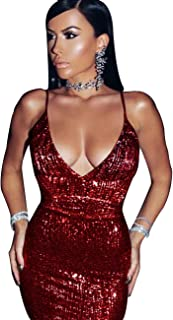 UONBOX Women's Sexy Open Back Deep V Neck Strappy Sequin Dress for Night Club