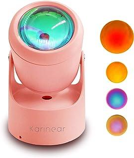サンセットライト スポットライト led 照明道具 雰囲気ライト 生放送 インテリア 撮影小物 USB給電 180°回転可能 卓上/壁に固定可能 パーティー バーライト 補光灯 寝室用 ロマンチック ピンク Karinear (サンセットB)