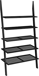 VASAGLE 5-Tier Ladder Shelf, Bamboo Bookshelf and Plant Stand, Spacious Storage for Living Room Bedroom Balcony, Black ULLS15BK