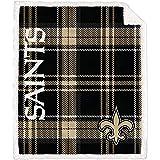 Pegasus Home Fashions New Orleans Saints 60'' x 70'' Plaid Ultra Fleece Sherpa Throw Blanket