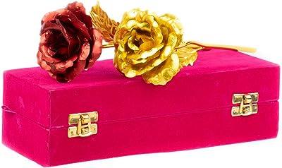Lavanaya Silver Gold Red Rose with Gift Box in Velvet