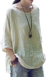 Suncolor8 Women's Solid Half Sleeve Plus Size Crewneck Linen T-Shirt Blouse Tops