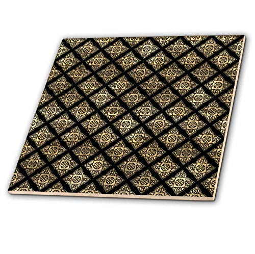 3dRose Contemporary Black and Image Of Gold Celtic Star Knots Pattern - Tiles (ct_342854_4)