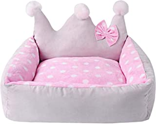 Dog Bed Crown Shape with Bow Winter Dog nest Cute Teddy Dog Small pet Bed 504525 cm