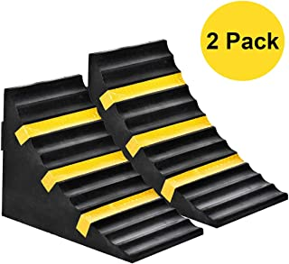 """RELIANCER 2 Pack Wheel Chocks Heavy Duty Extra Large Industrial Rubber Wheel Chock Blocks w/Handle Reflective Strips for Travel Trailer Hauler Truck Fire Truck Commercial Vehicle RV 10"""" x 6"""" x 7.3"""""""