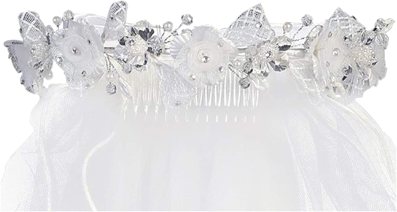 Swea Pea & Lilli Girls First Communion Veil - White Holy 1st Communion Headpiece with Headband and Flowers
