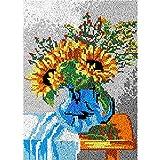 Juego de alfombras de gancho, diseño de jarrón de girasol, para adultos y niños, para colgar en la pared, con ganchillo, sin acabar, para decoración del hogar, 115 x 80 cm