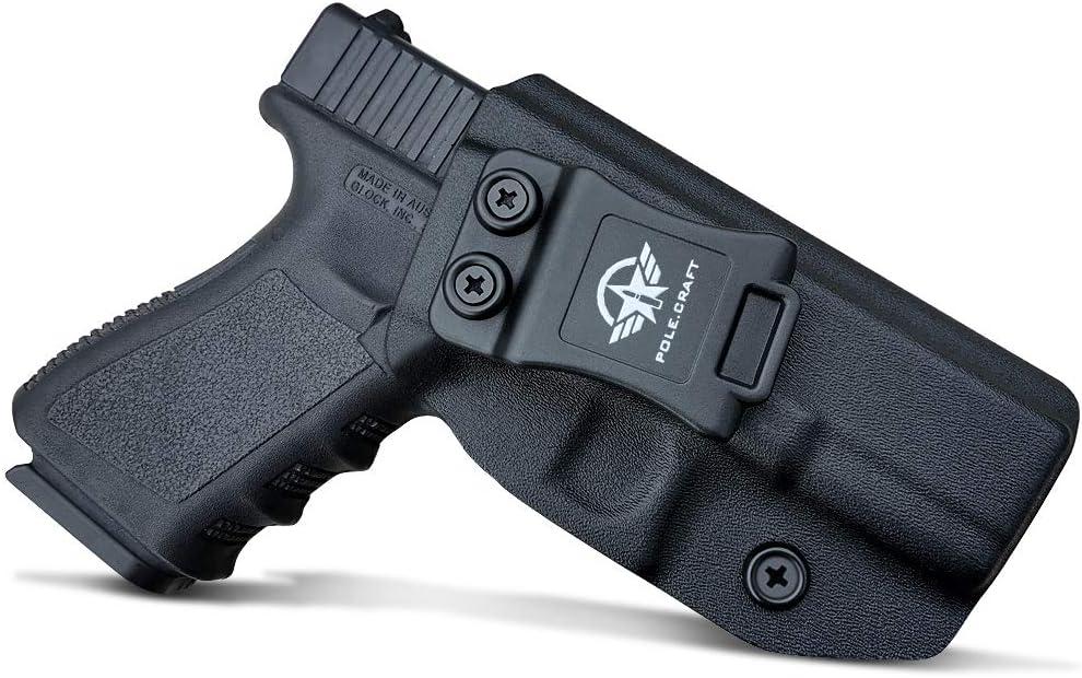 PoLe.Craft IWB Tactical KYDEX Gun Holster Custom Fits: Glock 19 19X 23 25 32 45 (Gen 3 4 5) CZ P10 Funda Pistola Case Inside Concealed Carry Holster Guns Accessories