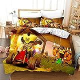 Ropa de cama Lindo Pequeño animal Dibujos animados Duvet Funda Anime Racing Coche Muchacha Adolescentes Duracion Decoración (Color : 3, Size : 200x200cm)
