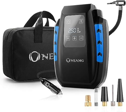 OneAmg Compresseur d'Air Portatif 12V, Compresseur Voiture d'air Digital Portable 12V 120W Auto Gonfleur Pneus, Elect...