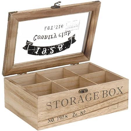 ToCi Boîte à thé en bois rectangulaire (6compartiments) ou carrée (9 compartiments) Style rétro, Bois, modèle 1, 6 Fächer