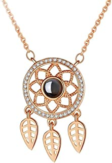 Necklace حلم الماسك الاسترليني قلادة فضية الإسقاط مائة أنا أحبك لغة الترقوة سلسلة الإناث Women's Chain Necklaces