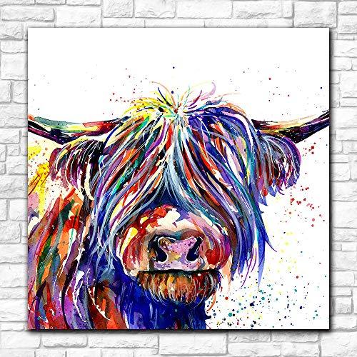 Handgeschilderd olieverfschilderij op canvas, minimalistisch, modern, handbeschilderd, koeien, muuroverij, schilderij met leeuwenkop, Scandinavisch dier, schilden en prints 70x70 cm