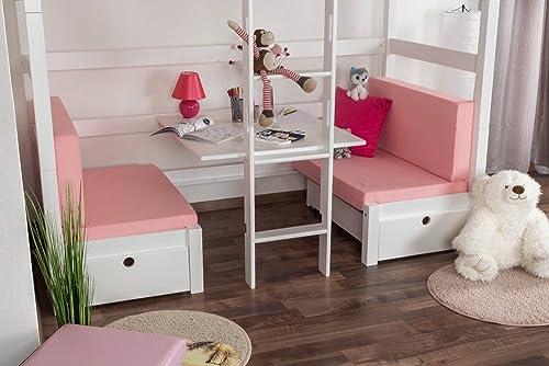 Sitzkissen 2er-Set für Kinderbett   Etagenbett   Funktionsbett Tim - Farbe  Rosa