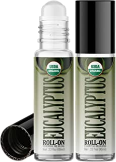 Organic Eucalyptus Roll On Essential Oil RollerBall (2 PACK - USDA CERTIFIED ORGANIC) Pre-diluted with Glass Roller Ball f...