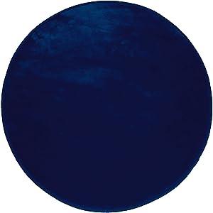 Douceur d'intérieur Tappeto Rotondo (0) 90cm Velluto Uni LOUNA Blu Notte