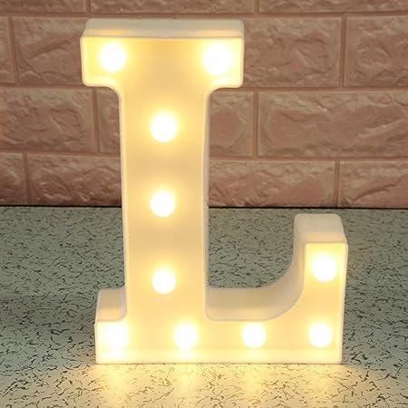 Luces de letras del alfabeto con luces LED, luces de noche para colgar en la pared, letrero de la decoración del alfabeto de la A-Z (L)