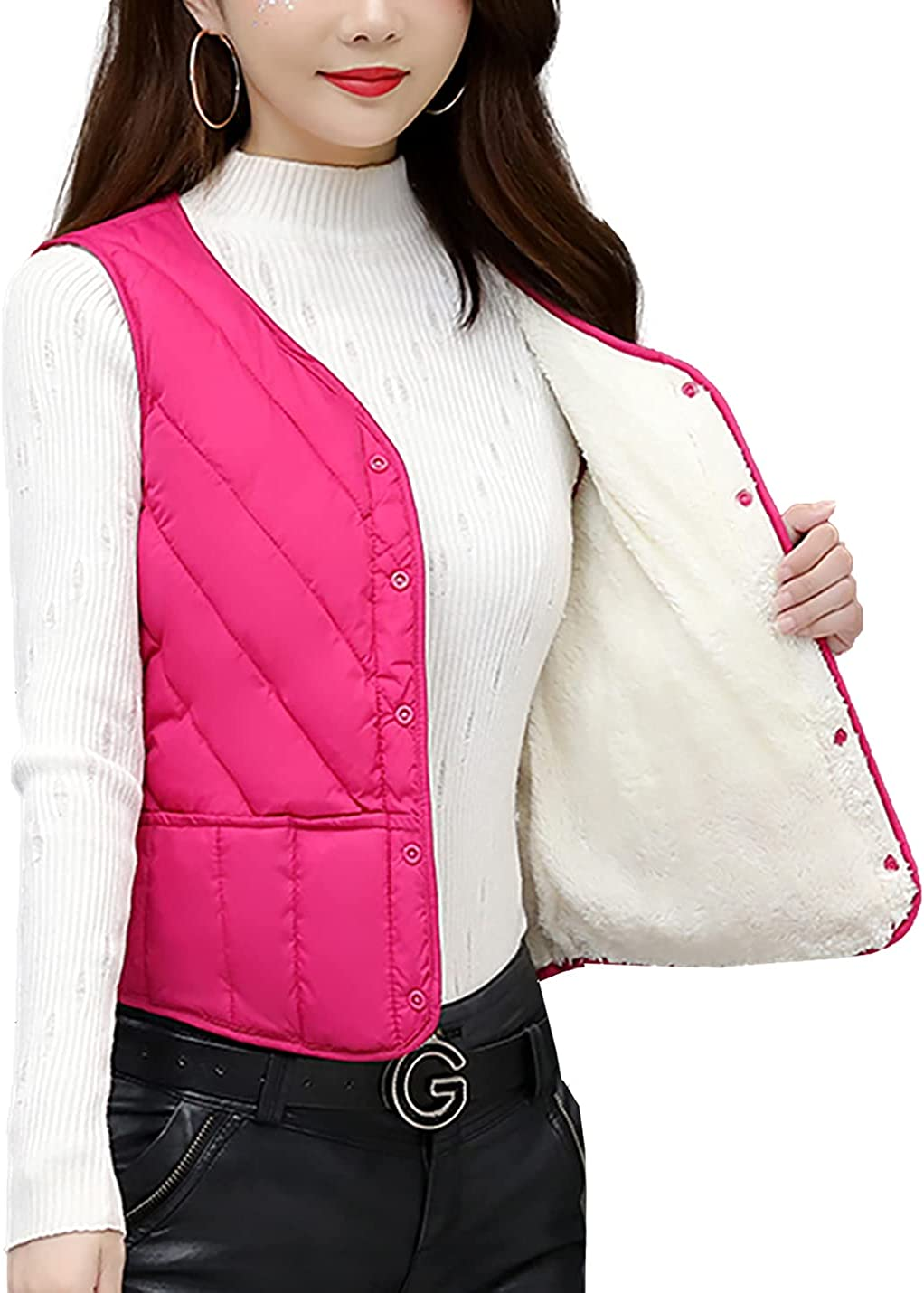 Kissonic Women's Quilted Padded Fleece Vest V Neck Button Down Warm Waistcoat Jackets