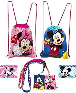 Disney Mickey and Minnie Mouse Drawstring Backpacks Plus Lanyards with Detachable Coin Purse and Autograph Books