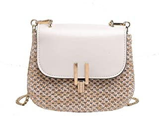 Wultia - Women Straw Bag Handbags Women Summer Rattan Bag Handmade Woven Beach Circle Bohemia Handbag New Fashion #G8 White