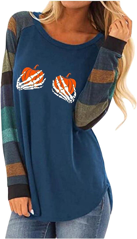 AODONG Halloween Costumes for Women, Womens Colorblock Vintage Crewneck Shirts Halloween Print Long Sleeve Casual Tops