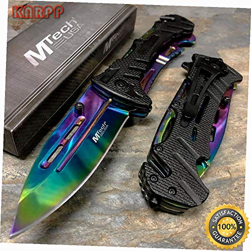 Rainbow Blade with Glass Breaker & Bottle Opener Spring Assisted Knife - Outdoor Camping perfect For Hunting EDC EMT