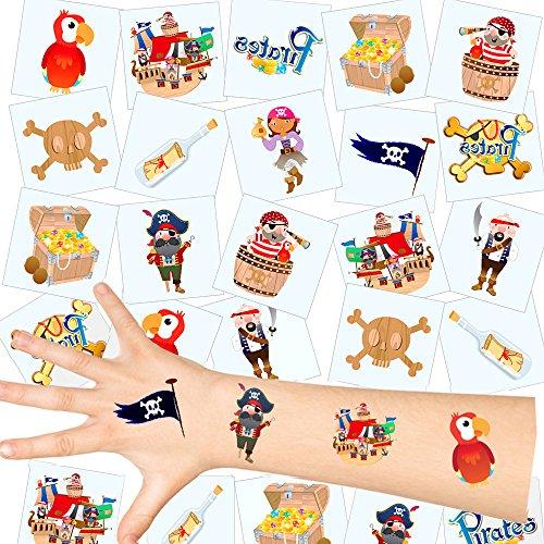 German Trendseller® - Piraten Kinder Tattoos - Set ┃ NEU ┃ Piraten Party ┃ Kindergeburtstag ┃ Mitgebsel ┃36 Tattoos