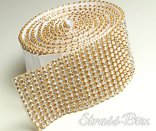 Crystal/or Mesh bande de strass SS8 autocollant galon Largeur au choix, 1,15 m de long strass clair, 12 reihig / 39 mm x ca.1150 mm
