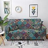 WXQY Juego de sofás elásticos, Juego de sofás para Sala de Estar, Mandala Bohemio con Estampado de Flores, protección para Muebles, Funda de sofá A2 de 3 plazas
