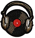 topt rasta ecusson DJ Platine Disque ecouteur Casque Vinyl Boite de Nuit Ibiza Musique 6x5cm