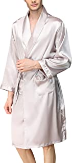 HX fashion Pajama Men Spring Summer Comfortable Soft Silk Dressing Gown Comfortable Sizes Long Sleeve V-Neck Solid Color H...
