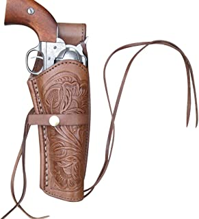 Leather Gun Holster for .38 Caliber and .357 Caliber Revolvers(Right Handed) Hand Tooled Brown