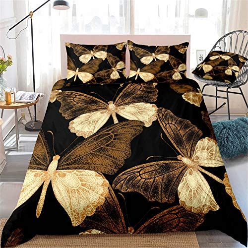 MIUNNG Duvet Cover Set Dreamy Elegant Blue Yellow Red Butterfly Theme Teenagers Girl Home Decoration Bedding Set Fade resistant (Butterfly 02,Double)