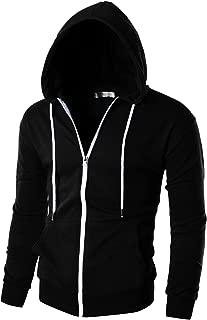 Mens Slim Fit Long Sleeve Lightweight Zip-up Hoodie with Kanga Pocket