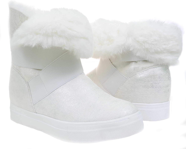 White Shimmer Boots Fur Vegan Women's Mid-Calf Winter Slip On
