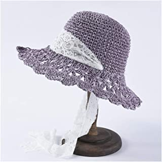 SHENTIANWEI Summer hat Ladies Folding Hooks Straw hat lace Straps Straw hat Students Sweet Sun hat (Color : Purple)