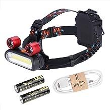 ohcoolstule Aluminium LED Head Zaklamp, 150000LM 2* XM-L T6 LED COB Oplaadbare 2 * 18650 Koplamp Hoofd USB Light Torch voo...