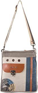Sixtease Clinch Upcycled Canvas & Genuine Leather Shoulder Bag SB-2205