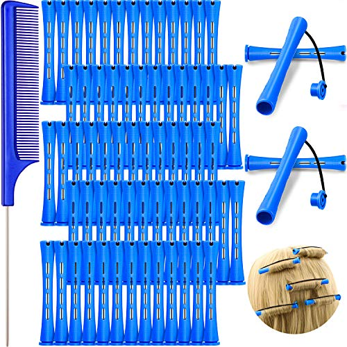 72 Barras de Permanente de Pelo, Barra de Onda Fría de 0,35 Pulgadas/ 0,9 cm Rizador Varilla de Permanente de Plástico Rulo de Pelo con Peine de Cola de Acero Inoxidable para Peluquería, Azul