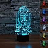 SmartEra® Star Wars Fuerza Despertar 7 cambio del color del botón del tacto del robot R2D2 óptico 3D LED luz del escritorio la ilusión