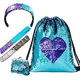 lurico mermaid paillettes zaino mermaid borsa con paillettes borsa paillettes reversibili con bracciale, fascia per capelli e portamonete - (cuore)