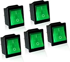 MGI SpeedWare 12vDC Neon Lighted Mini Rocker Switches On-Off DPST 5 Pack (Green)