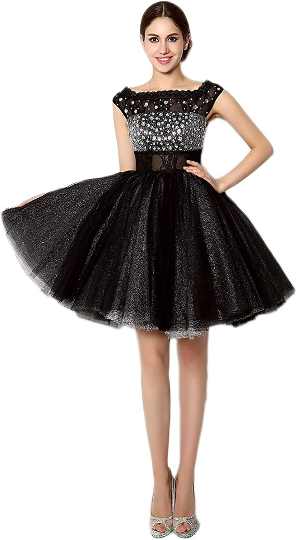 AK Beauty Women's Crystal Mini Prom Dress