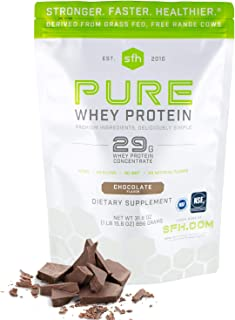 SFH Pure Whey Protein Powder (Chocolate) by SFH | Best Tasting 100% Grass Fed Whey | All Natural | 100% Non-GMO, No Artifi...