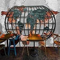 レトロノスタルジックレリーフメタル世界地図3D壁紙壁画バーレストラン壁紙自己粘着性家の装飾壁アート壁画 400x280CM