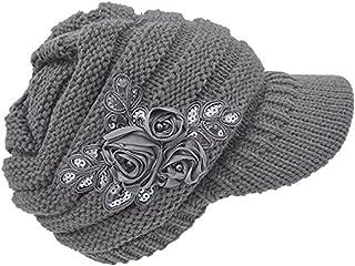 C-US Women Winter Warm Knit Hat Crochet Visor Brim Cap with Flower Accent