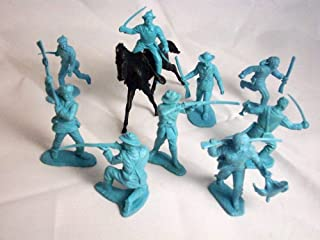 Marx Alamo Frontiersmen. 9 Vintage Alamo Figures in Light Blue Offered By Classic Toy Soldiers
