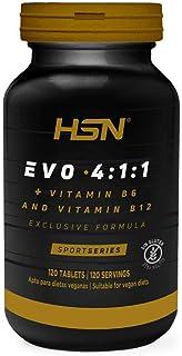 BCAA Evo 4:1:1 de HSN | Aminoácidos Ramificados con Ratio 4:1:1 (Leucina, Valina, Isoleucina) + Vitamina B6 y B12 | Vegano, Sin Gluten, Sin Lactosa, 120 tabletas