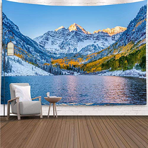 YISURE雪山風景壁タペストリー 風景画 森雪山湖の風景インテリア壁掛け ファブリック装飾用品 ウォールデコレーション 200x150cm