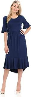 Women's Premium Knit Cropped Bell Midi Dress
